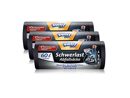 Swirl Profi Schwerlast-Abfallsäcke mit Zugband, 60 Liter, Reißfest, 3 Rollen mit je 12 Säcken