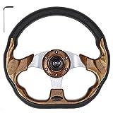 10L0L Generic 12.5' Golf Cart Steering Wheel fit EZGO Club Car Yamaha,Woodgrain Racer Steering Wheel