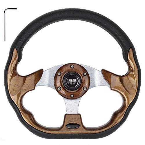 "10L0L Generic 12.5"" Golf Cart Steering Wheel fit EZGO Club Car Yamaha,Woodgrain Racer Steering Wheel"