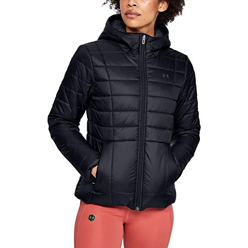 Under Armour Women's Armour Insulated Hooded Jacket , Black (001)/Jet Gray , X-Large