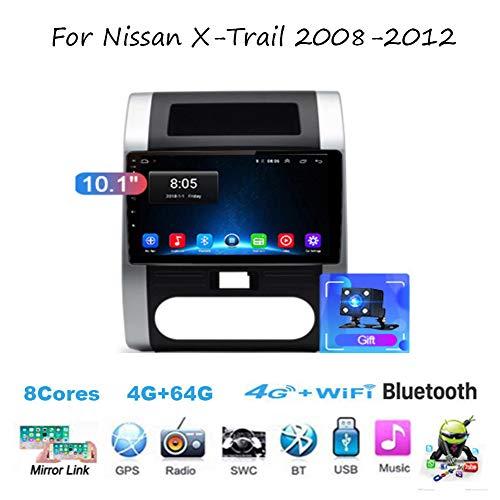 TypeBuilt Android 10 Autoradio Radio Navigationssystem Für Nissan X-Trail 2008-2012 Gürtel DAB+ Digitalradio Bluetooth USB Mirrorlink Sygic GPS Verkehrsinfo,8cores,4G+64G