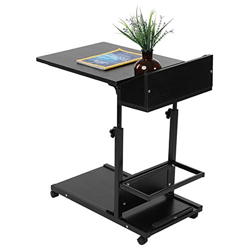 Escritorio extraíble para computadora portátil multifuncional con ruedas, cajón, cama, sofá, libros, bocado(Negro)