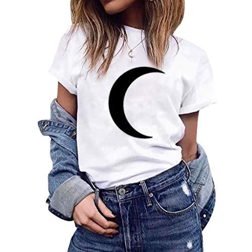 TOPKEAL Camiseta Estampada de Luna de Manga Corta y Color Liso de Verano de Tallas Grandes para Mujer
