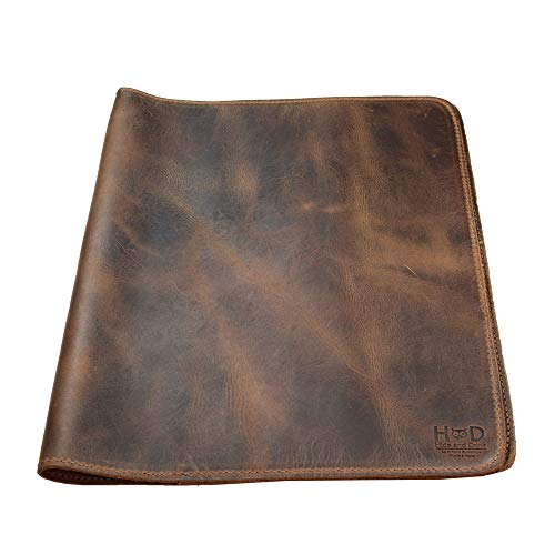 Hide & Drink, Rustic Leather Journal Cover (8.5 x 11 in.), Refillable Moleskine Cahier XXL, Handmade Includes 101 Year Warranty :: Bourbon Brown