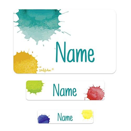 Striefchen® Schuletiketten mit Namen im 100er Pack - Farbklecks - ideal für das Beschriften von Heften und Büchern in der Schule
