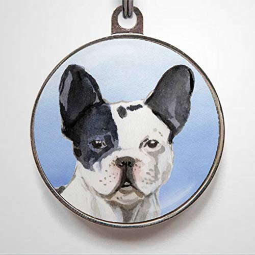 French Bull Frenchie Charm Personalized Pet ID Tags, 1.38-1.5inch Cat Dog ID Tag & Two Sided Dog Name Tag.