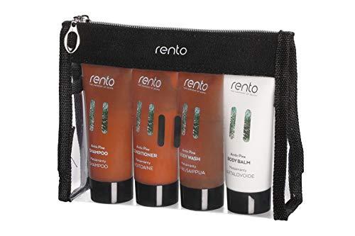 RENTO | Körperpflege Reise Set Arctic Pine - mit Duschgel, Shampoo, Conditioner und Körperlotion in Einer Reisegröße von 50 ml