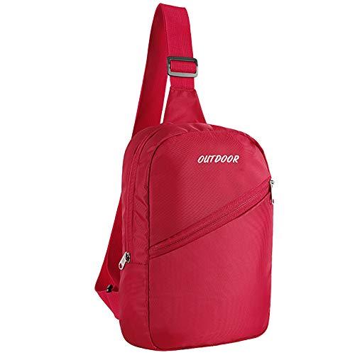 Sling Mochila Crossbody Bolsas para Hombres y Mujeres, Pequeña Bolsa de pecho para viajes, gimnasio, deporte, senderismo, ligera (rojo)