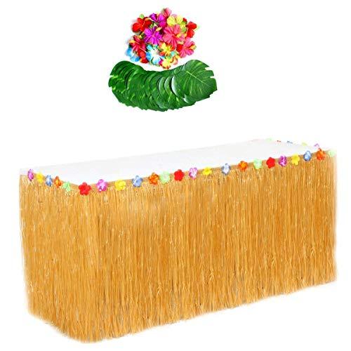 JZK Hawaiian Luau Jupe de Table + Feuilles de Palmier + Fleurs Hawaii, Décorations de Fête pour Hawaïen BBQ Anniversaire Noël Plage Fête