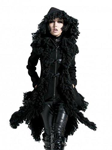 Punk Rave Dark Dreams Gothic Steampunk Post Apocalyptic Vampir Victorian Jacke Mantel Kapuze 36 38 40 42, Größe:L