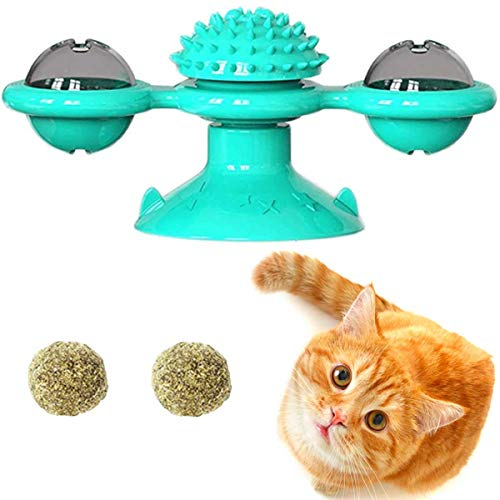 GABraden Windmill Cat Toy Turntable Teasing Pet Toy Scratching Tickle Cats Hair Brush Funny