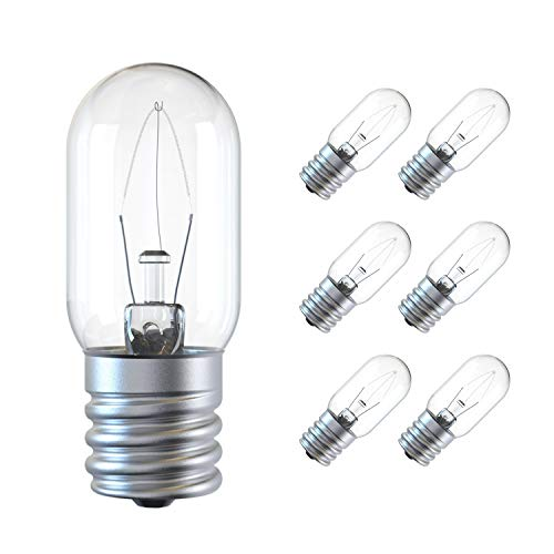 Appliance Light Bulb, 125V 25W Microwave Light Bulb Replacement Parts E17 Base Fits for Most GE Whirlpool Oven, Clear Incandescent T8 Oven Light Lamp(6 Pack)