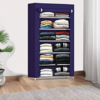 Keekos Collapsible Wardrobe Organizer, Storage Rack for Kids and Women, Clothes Cabinet, Bedroom Organiser with 6 Layer_Navyblue