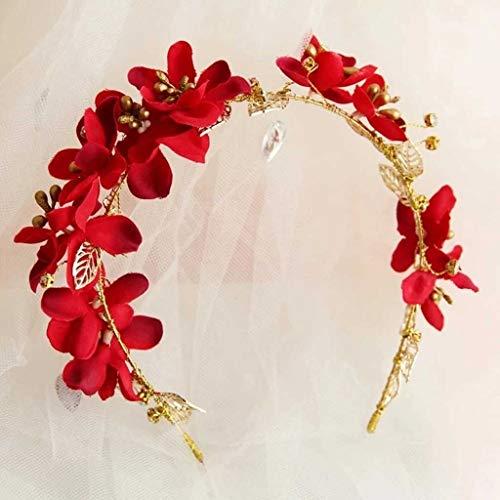 JJZXD Moda Beautyful Mujeres Red Flor Diadema Guirnalda Guirnaldas de Boda Floral Crown Beach Novia Hairbanda Cómodo Joyería de Pelo