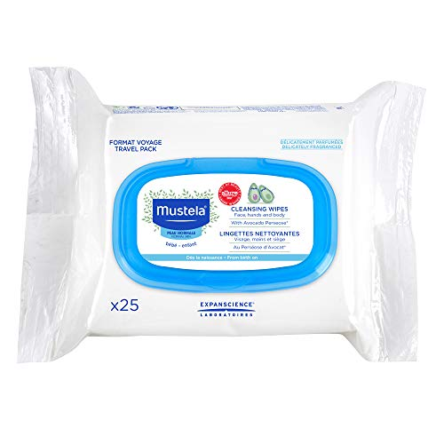 Mustela Baby Cleansing Wipes - Ultra Soft, On-the-Go Travel Wipes - Lightly Scented - with Natural Avocado & Aloe Vera – 25 ct.