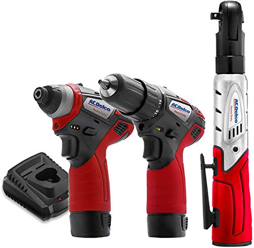 """ACDelco ARW1208-K10 G12 Series 12V Cordless Li-ion 1/4"""" Impact Driver, 3/8"""" Ratchet Wrench & 2-Speed Drill Driver Combo Tool Kit with 2 Batteries"""