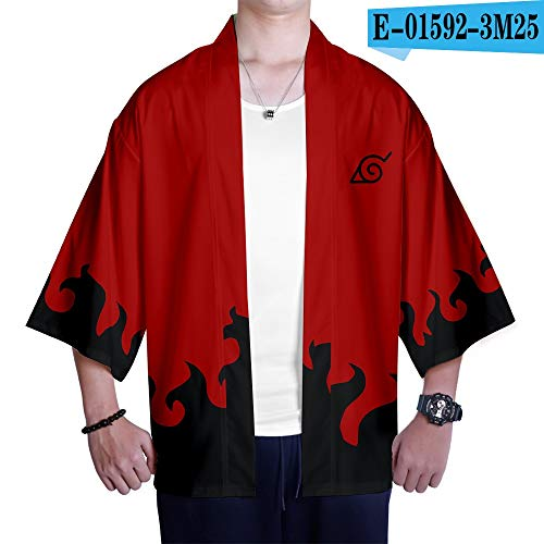 Fashion SHOP Japonés Naruto 3D Kimono Hombres/Mujeres Casual Animado Harajuku 3D Naruto cómodo 3D Kimono Negro y Hip Hop Top Blanco de la Manera (Color : As Shown, tamaño : XXS)