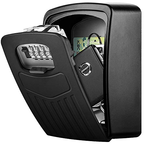 Schlüsseltresor Wandmontage BTNEEU Schlüssel Safe Groß für Schlüssel, Schlüsselsafe Aussen mit 4-stelligem Zahlencode, Gross Schlüsselbox für Draußen, Innen, Auto, Zuhause, Garage (schwarz)