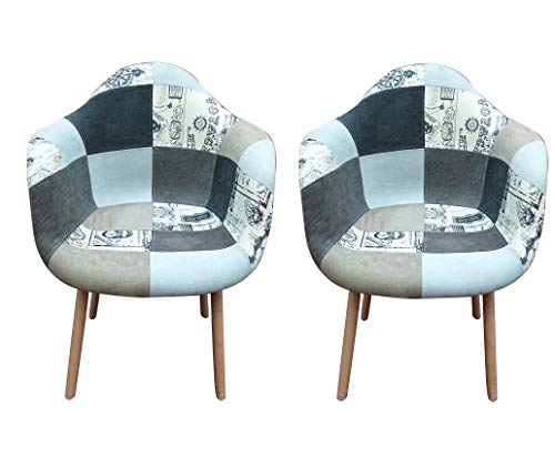 Juego de 2 sillones Patchwork, patas de madera de haya, silla de salón, oficina, cocina o comedor (gris)