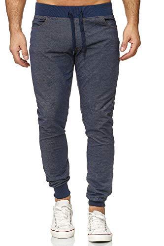 EGOMAXX Herren Jogging Hose Slim Fit Jeans Optik Sport Sweat Pants, Farben:Blau, Größe Hosen:L
