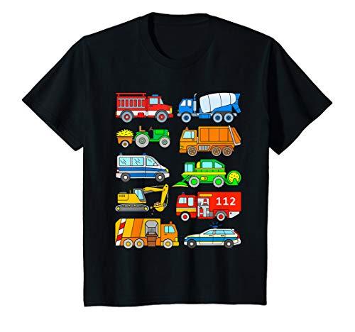 Kinder Fahrzeuge Polizei Feuerwehr Müllabfuhr Auto Jungen T-Shirt