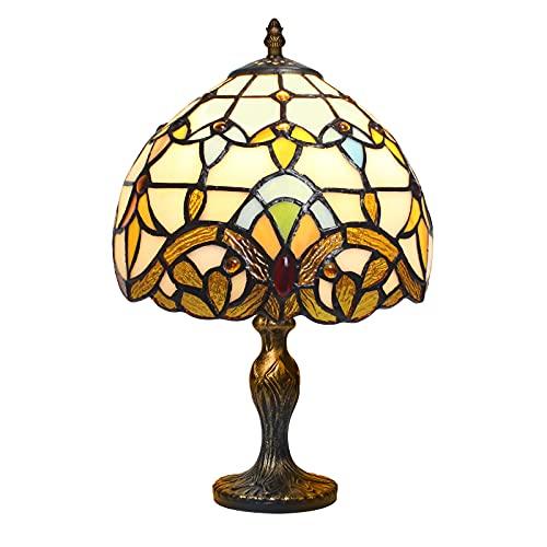 MIAOKE Lampe Tiffany, Vintage Fleur Vitrail Style Table Lampe, Chambre Lampe Art Deco Vintage Lampe De Salon Sur Table, Ampoule E27 NON Fournie