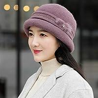 高齢者の母親のウサギの毛皮の帽子女性の秋と冬のニットウールキャップ厚く暖かい帽子流域 LYEJM (Color : Knitted leather purple, Size : One size)