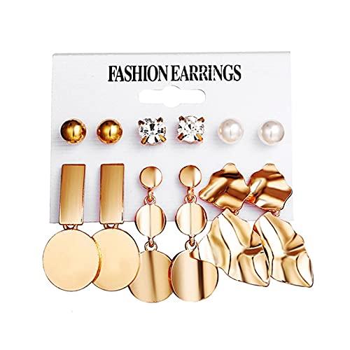 FEARRIN Pendientes Vintage Retro Oro Color Dorado Perla geométrica Pendientes de botón de Cristal para Mujer Pendientes Boho Conjunto Joyería Declaración Femenina F936