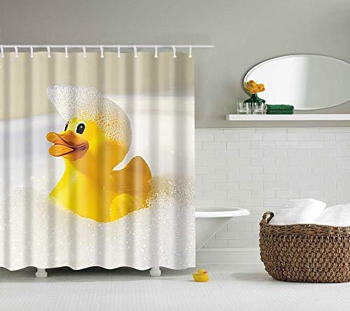 Boyouth Little Yellow Duck in The Bath Muster Digitaldruck Duschvorhänge für Badezimmer, Polyester wasserdichter Stoff-Badevorhang mit 8 Haken, 119,9 x 177,8 cm, mehrfarbig