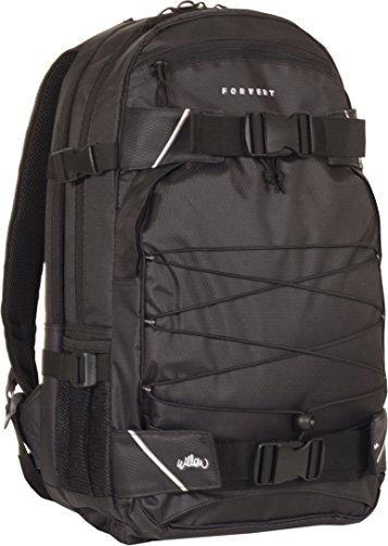 FORVERT Unisex Bag Willow sportlich-lässiger Daypack mit durchdachter Ausstattung, Boardcatcher und Sitzkissen in der Bodentasche, schwarz (Black)