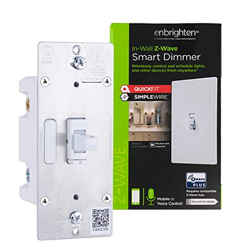 Enbrighten 46204 Z-Wave Plus Smart Light Dimmer with QuickFit and SimpleWire, Works with Alexa, Google Assistant, ZWave Hub & Neutral Wire Required 3-Way Ready 2nd Gen, White