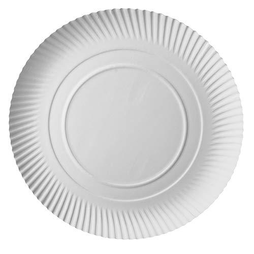 PAPSTAR 100 platos de cartón, redondos, 34 cm de diámetro, 3 cm, color blanco, 100 unidades