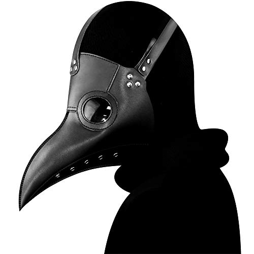 Steampunk Plague Doctor Mask Gothic Black Face Mask Halloween Costume Props (hg065bk)