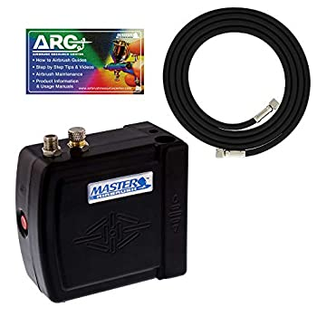 Master Model C16-B - Black Mini Airbrush Air Compressor with 6 Foot Braided Air Hose with 1/8 in Ends