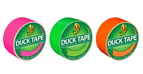 Duck Brand Color Duct Tape Neon Combo 3-Pack, Pink, Green and Orange, 1.88 Inches x 15 Yards Each Roll, 45 Yards Total (BND02332)