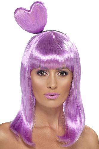 Smiffys Damen Candy Queen Perücke mit Herz Haarreif, One Size, Flieder, 42077