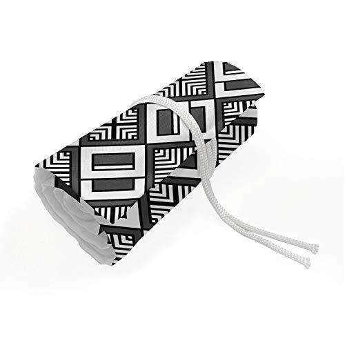ABAKUHAUS Art Deco Mäppchen Rollenhalter, gestaffeltes Quadrat, langlebig und tragbar Segeltuch Stiftablage Organizer, 72 Schlaufen, Charcoal Grau Weiß