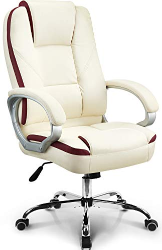 Neo Chair Office Chair Computer Desk Chair Gaming - Ergonomic High Back Cushion Lumbar Support with Wheels Comfortable Ivory Leather Racing Seat Adjustable Swivel Rolling Home Executive