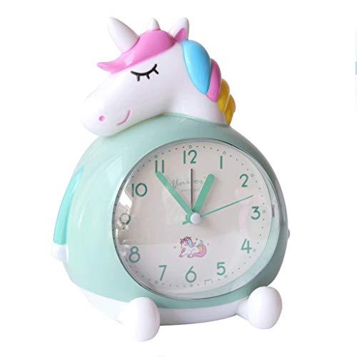 DEF Alarma Unicornio Lindo Reloj silencioso y no marcando Reloj Despertador, con repetición y función de luz Nocturna, la cabecera del Reloj for niños y niñas (Color : Green)
