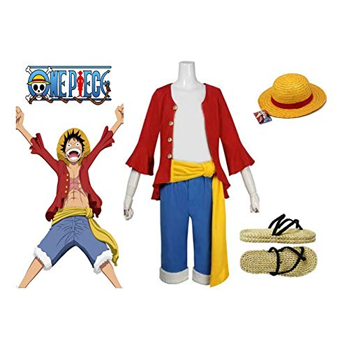 SUNKEE Japanische Anime One Piece Cosplay - 2 Jahre später Monkey D. Ruffy Kostüm Kombination, Größe XL :(Höhe 173-177cm, Gewicht 70-80 kg)