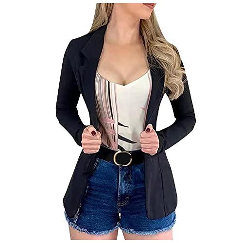 Chaqueta de manga larga para mujer, chaqueta de moda con solapa, para trabajo, B Negro, XXXL