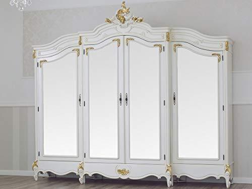 SIMONE GUARRACINO LUXURY DESIGN Armadio Julian Stile Barocco Decape Avorio e Foglia Oro 4 Porte 4 specchi 2 cassetti