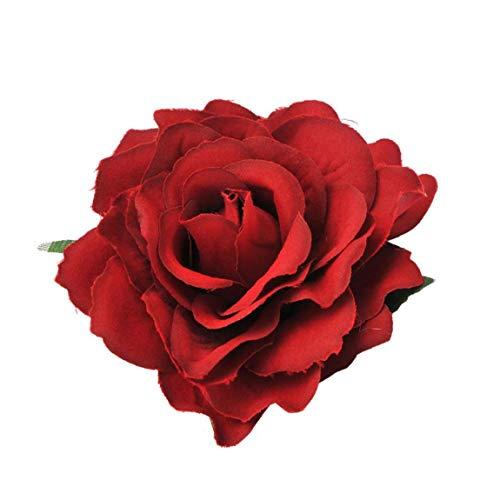 Clip de Pelo de Las Mujeres de simulación Ramillete de Rose Multi Función Artificiales de Rose Broche Bailarina de Tela Craft Accesorios para el Cabello para la Boda del Partido 2pcs 10cm Vino Tinto
