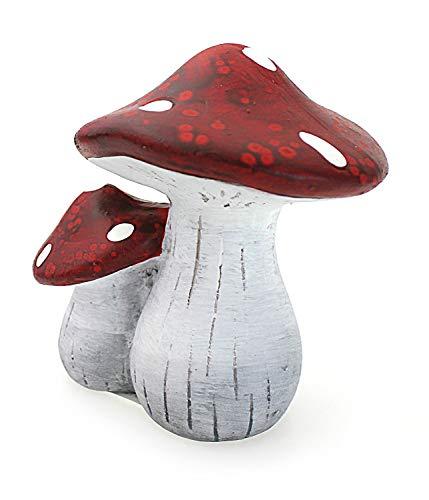 Deko Figur Pilz Fliegenpilz Pilzmännchen mit Schlafmütze aus Polystein rot orange beige, Höhe 29 cm, witzige Figur als Deko für drinnen und draussen - 3