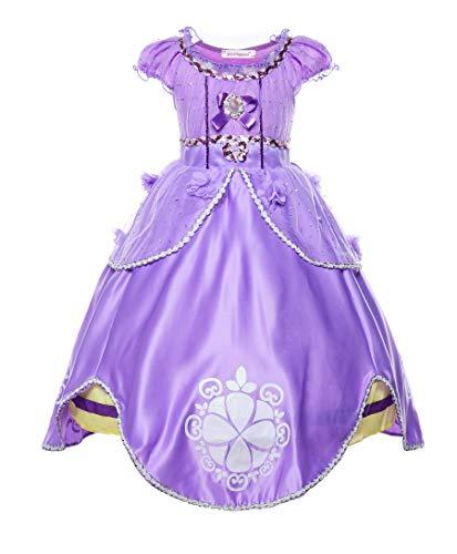 JerrisApparel Niña Disfraz de Princesa Sofía Tul Cumpleaños Partido Vestido (2 años, Morado)