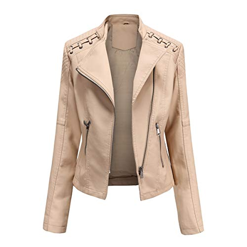 YYNUDA Damen Lederjacke Kurz aus Kunstleder mit Reißverschluss Regular Fit Jacke Übergangsjacke