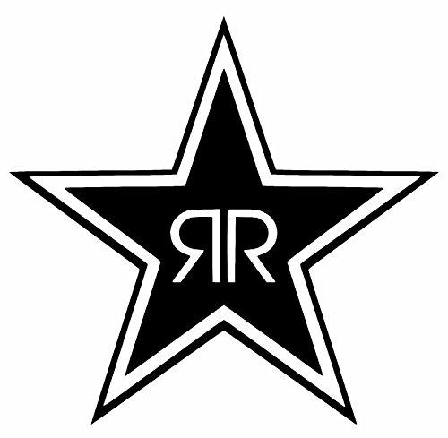 "Rockstar Energy Drink Logo - Vinyl 5"" tall (Color BLACK) decal laptop tablet skateboard car windows sticker"