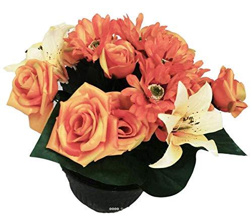 Artif-déco.com - Composition Vasque Roses Lys Tigre et Gerbera lestee Exterieur H 35 cm Orange - Couleur: Orange