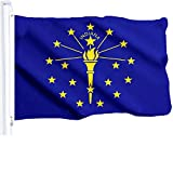 G128 Indiana State Flag 150D Quality Polyester 3x5 ft Printed Brass Grommets Flag Indoor/Outdoor - Much Thicker More Durable Than 100D 75D Polyester