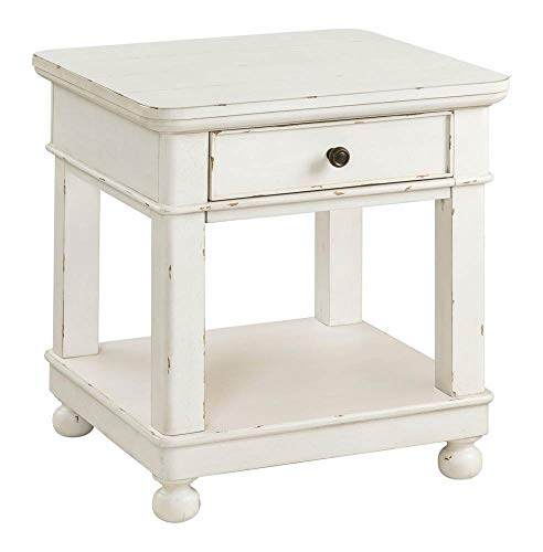 Riverside Furniture Bella Grigio Square Wood End Table in Chipped White
